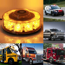Amber 30W 10 LED Magnetic Beacon Emergency Warning Strobe flash Roof Round Light