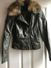 DOROTHY PERKINS Khaki Faux Leather Biker Style Jacket Faux Fur Collar Size:8