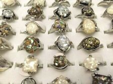 Wholesale bulk lots 25pcs mixed Color assorted natural Shell Alloy Rings jewelry