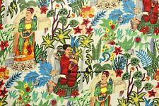 Indio Hecho a Mano Bloque Sanganeri Estampado Frida Kahlo Por Yardas Tela