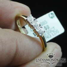 LADIES 10K YELLOW GOLD PAST PRESENT FUTURE GENUINE REAL DIAMOND ENGAGEMENT RING