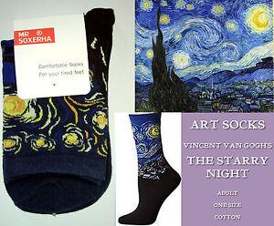 Navy ART SOCKS Vincent Van Gogh THE STARRY NIGHT Ladies Mens ANKLE HIGH Blue Blk