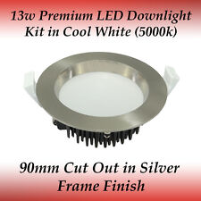 13w Brushed Chrome Frame Premium Dimmable LED Downlight Kit in Cool White Light