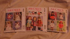 "3 McCALL'S SEWING PATTERNS - 18"" DOLL CLOTHES"