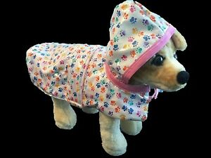 Pink Trimmed Fleece Lined Hooded Doggie Raincoat XS