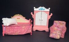 Fisher Price Loving Family Dollhouse Princess Bed, Matching Chair And Armoire