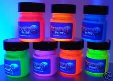 7 x 30ml pots Fluorescent Paints + UV torch + brush set