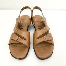 Womens 8.5 SAS Tabby Sandals Caramel Leather Slingback Adjustable Straps