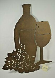 "Lazart - Bottle of Vino Wine - 16"" Metal Laser Cut Hanging Wall Art - Rustic"