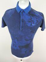 Mens Rare Lacoste Camo Mountain Polo Shirt Blue Xs 2 38 Chest pop studs