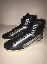 9f198480fda New Men's Saint Laurent High Top Sneaker SL36H Black/Silver Size 45 Size 12  $795