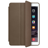 For iPad Air 2 Genuine Leather Smart Case Cover Slim Wake Dark Brown Tide New