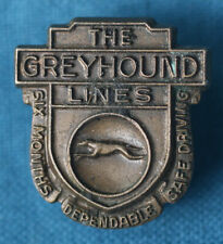 Vintage The Greyhound Lines Six Months Dependable Safe Driving Bus Driver Pin