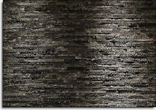 368x254cm Giant wallmural living room, bedroom Black & Charcoal style stone wall