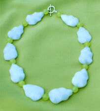 White snow jade leaf/Green jade  bead necklace w/silver toggle clasp NKL99006