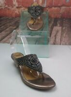 Soft Beaded Leather Sandals Silver Size 8