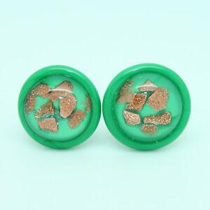 Murano Glass Cufflinks Green with Bronze Foil Circular Handmade from Venice