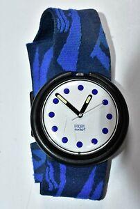 POP Swatch Swiss Watch 1990 Blue Cloth Band