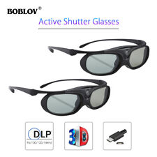 2x 3D Active Shutter Glasses DLP-Link Black For BenQ W1070 W700 Dell Projector