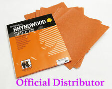 "COARSE SANDPAPER SHEETS  RHYNOWOOD 10 Sheets 9""x 11"" 100 GRIT Dry Wood Sandpaper"