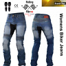 Womens Ladies Motorcycle Jeans Motorbike Trousers Aramid Protective Biker Armour