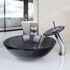 New listing Us Black Bathroom Glass Vessel Basin Sinks Bowl Brass Mixer Waterfall Faucet Set