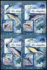 Djibouti 2017 Dolphins Set Of Four Souvenir Sheets Mint