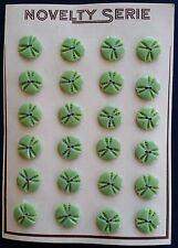 Vintage Buttons - 24 Small Celery Green 2-Hole Carved Casein buttons
