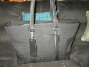 XL BLACK SIGNATURE COACH WEEKEND CARRY ALL TOTE BAG A0985-F77012