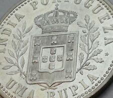 India Portuguese Uma Rupia 1903. KM#17. .917 1 Silver Dollar coin. GOA. Carlos I