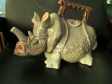 Unique Whimsical Rhino Rhinoceros Shaped Teapot Tea Pot Blue Sky 2009