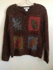 Dressbarn Fall Leaf Sweater Button Front S