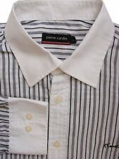 PIERRE CARDIN Shirt Mens 16 L White - Black Stripes