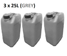 3 x 25 LITRE 25L PLASTIC BOTTLE JERRY CAN WATER CONTAINER CANISTER - GREY