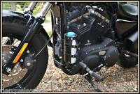 Support en cuir porte bouteille réserve essence (custom sportster forty iron )