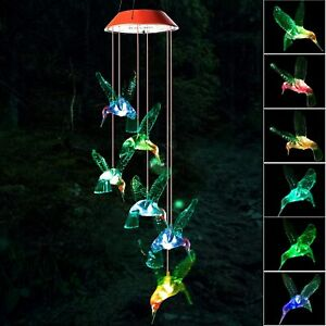 Solar Powered LED Color Changing Wind Chime Hummingbird Outdoor Indoor Solar New