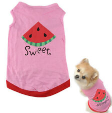 News Lovely Small Pet Dog Puppy Cat Cloth Watermelon Printed Pink Vest Decro J1