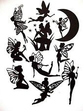 10 Piece Bundle Silhouette Fairy Die Cuts, Set 6 : Black