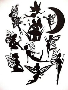 New : 10 Piece Bundle Silhouette Fairy Cuts, Set 6 : Black