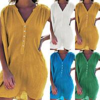 Women's V Neck T Shirt Tunic Mini Dress Beach Sleeveless Casual Loose Sundress