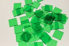 50 x SQUARE TRANSPARENT GREEN COLOUR PLASTIC COUNTER CHIPS - FREE UK POST