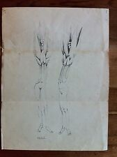 """Signed Drawing Wolfgang """"Ted"""" Behl w/ Note abstract plant human evolution"""