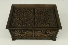 Vintage LERNER 1970s Plastic Faux Wood Scroll Dresser Jewelry Box Red Lining