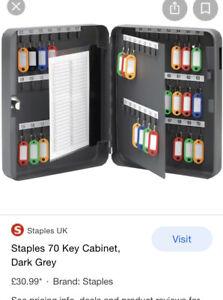 Staples 70 Key Storage Safe Car Van Key Fob Lock Box Wall Mountable & Key Tags