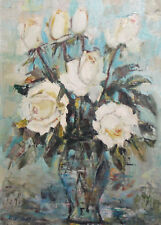 impressionist Still Life with flowers vintage oil painting signed