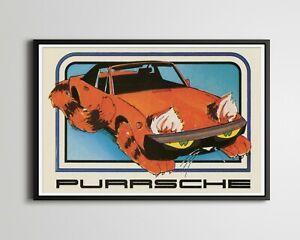 "1976 Purrsche Crazy Car POSTER! (up to 24""x36"") - Vintage - Racing - Porsche"