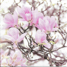 Lot de 4 Serviettes en papier Magnolia rose Decoupage Collage Decopatch
