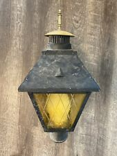 Vintage Outdoor Lantern Porch Light Fixture Diamond Pattern Amber/ Yellow Glass