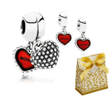 💎Daughter and Mother Day Duo Twin Heart love Dangle Pendant/Charm set+gift box