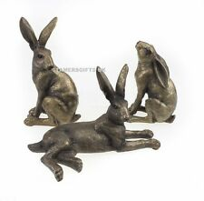 Set of 3 Hares Sculpture Hare Ornaments in Bronze Finish Leonardo Collection